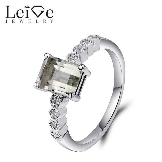 Leige Schmuck Smaragd Cut Grune Amethyst Ring Silber 925 Prong