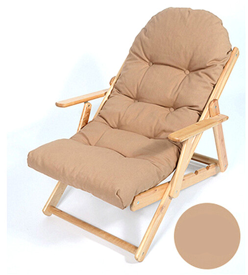 Soft Folding Foldable Wooden Reclining Chair Simple Ergonomic Lazy Sofa Balcony Couch Leisure Chair Thickened Cushion