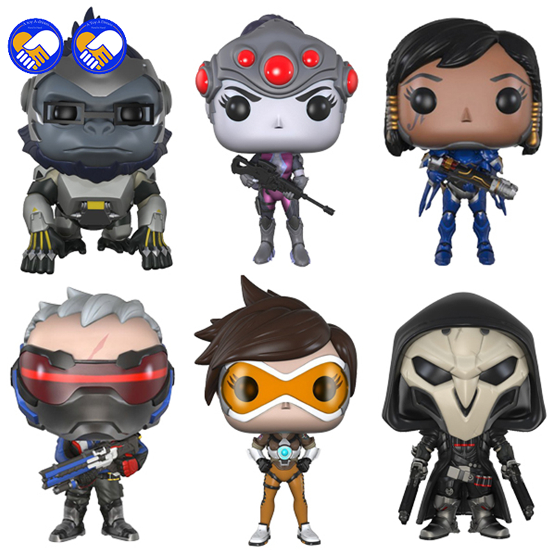 A toy A dream OW 10cm Dowin action Figure Tracer Game Widow Maker D.VA MEI GENJI HANZO McCree Soldier 76 Bastion Doll Kids Toys new patterns game genji ow metal weapons zinc alloy exquisite darts rotatable ninjia professional cosplay props kids gift in box