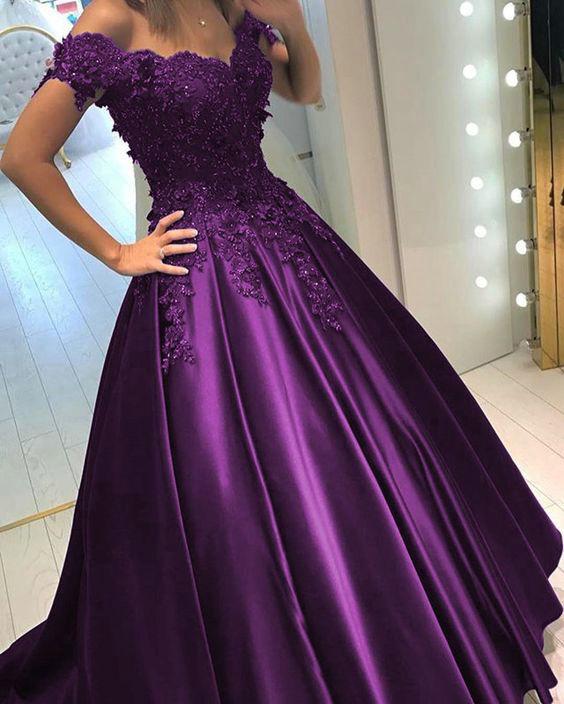 BRITNRY V Neck Lace Beaded Off Shoulder Satin Purple Wedding Dress Custom