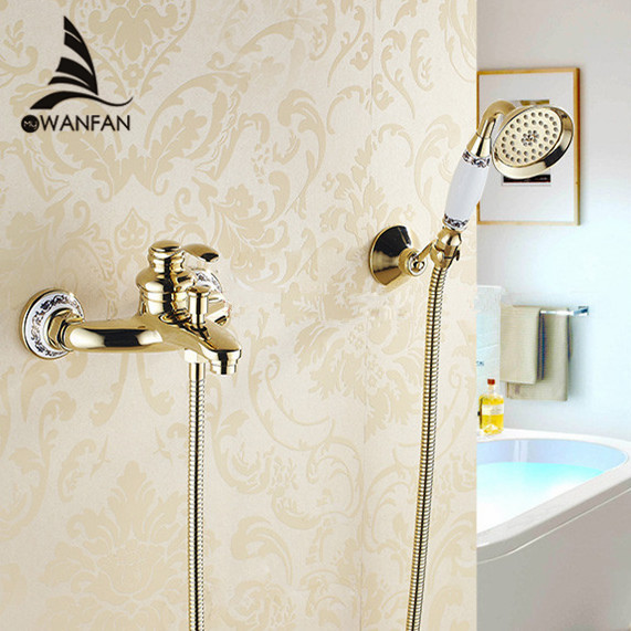 Wall mounted golden Brass Bathroom Bathtub Faucet Handheld Shower Head Shower Faucet Mixer Tap HJ 6790