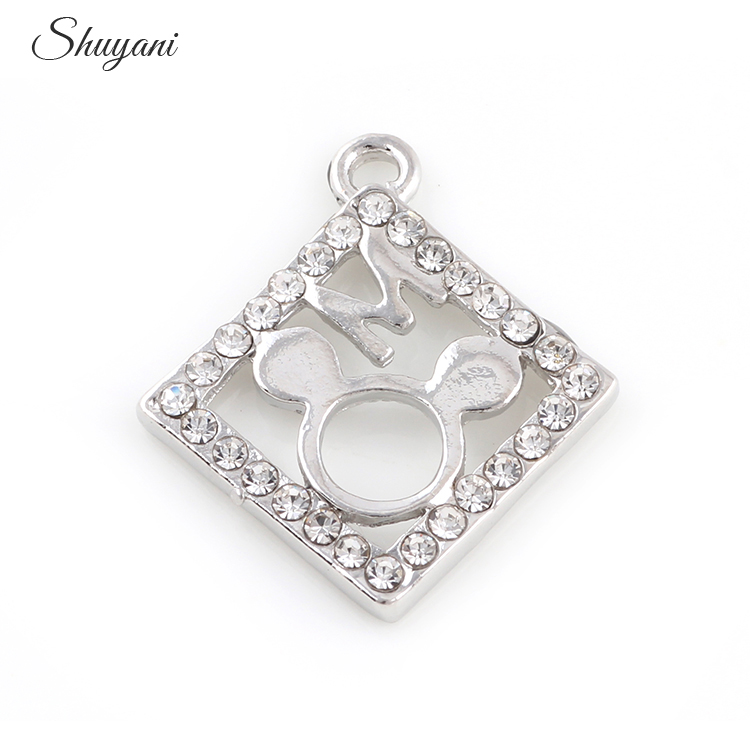 20*24mm Square Minnie Mouse Pendant Silver Plated Rhinestone Charms Pendants For DIY Necklace Bracelet Jewelry Making