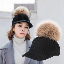 HANGYUNXUANHAO 2018 New Real Fur Pompom Cap For Women Spring Autumn Woman Baseball Cap Snapback Solid Color Striped Caps striped knot baseball cap