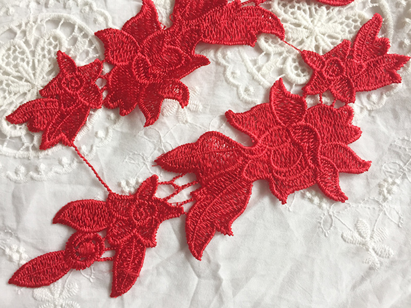 5Pairs 24X6 5cm Hot Sale Guipure Lace Applique Fabric Apparel Water Soluble DIY Sewing Red Chantilly French Lace Trim TT151 in Lace from Home Garden