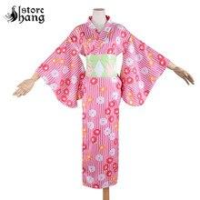 Women's Pink Flower Stripe Japanese Kimono Robe Traditional Pattern Long Kimono Cosplay Costume Summer Yukata with Obi Belt
