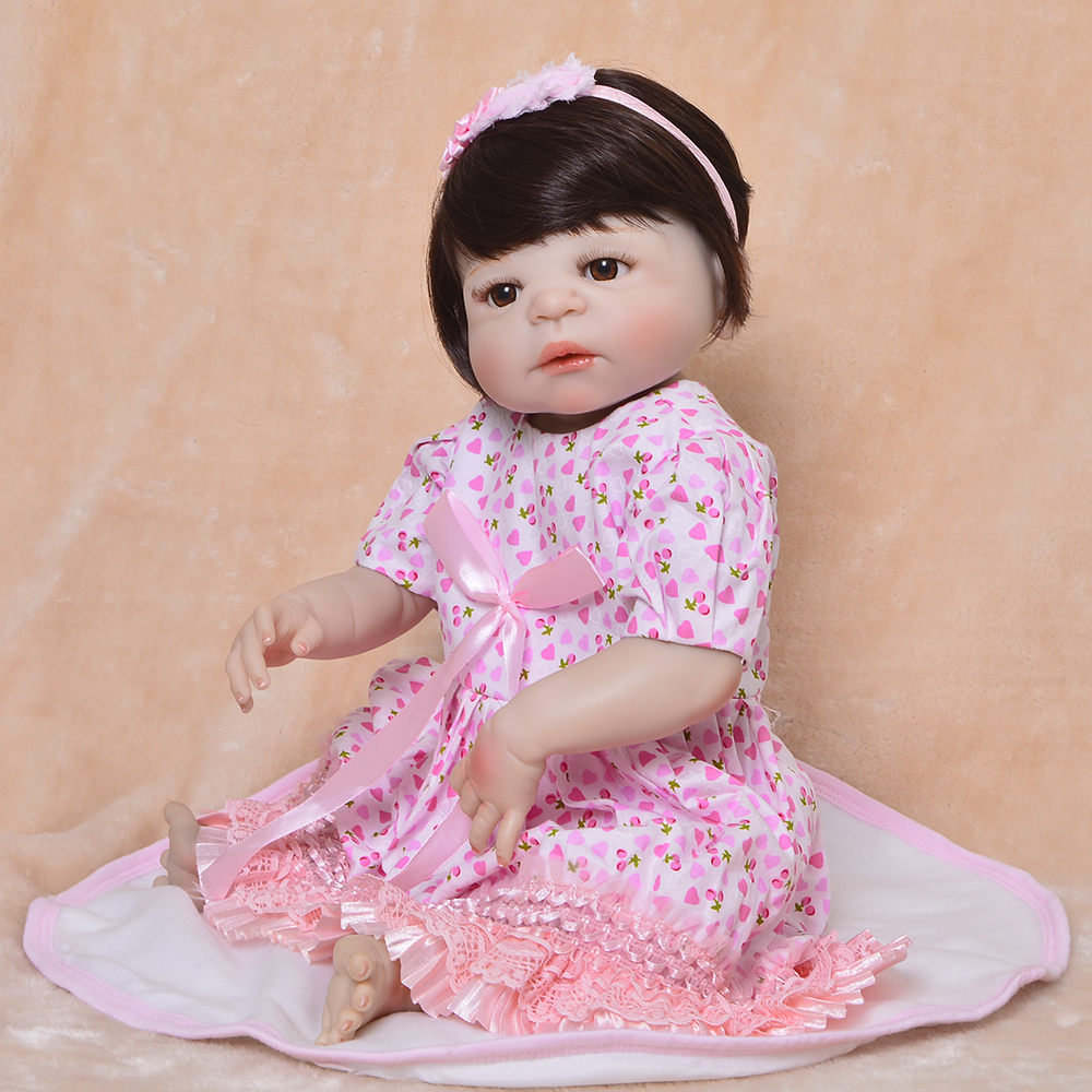 55cm Full Silicone Reborn Girl Baby Doll Toy adorable bebe lifelike doll simulation 23inch bathe Gift Present for sale toys doll55cm Full Silicone Reborn Girl Baby Doll Toy adorable bebe lifelike doll simulation 23inch bathe Gift Present for sale toys doll