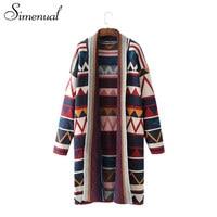 Simenual Geometric Women Cardigans Of The Big Sizes Sweater Knitwear Jackets Winter Turn Down Collar Vintage