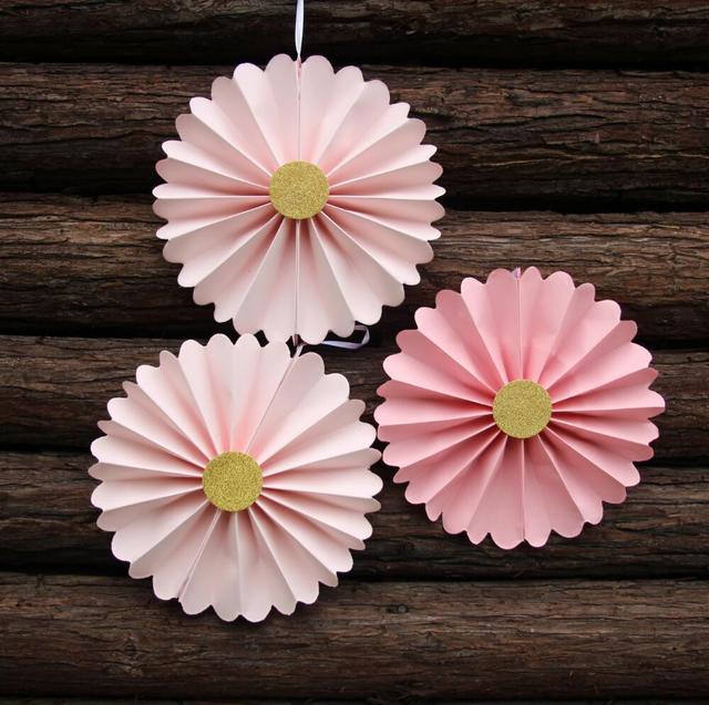 3pcs Pink Paper Fan Backdrop Birthday Candy Buffet Decor Wedding Backrrop Rosettes 8