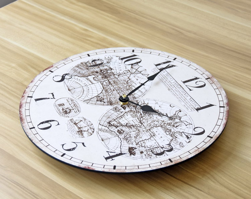 Europe and the united states fashion nostalgia solid wood wall clock europe and the united states fashion nostalgia solid wood wall clock world map frameless painting decoration bell 35 35cm in wall clocks from home gumiabroncs Image collections