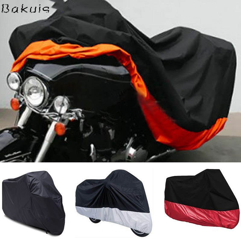All Season Black Waterproof Sun Motorcycle Cover,Fits up to 108 Motors (L/XL/XXL/XXXL)