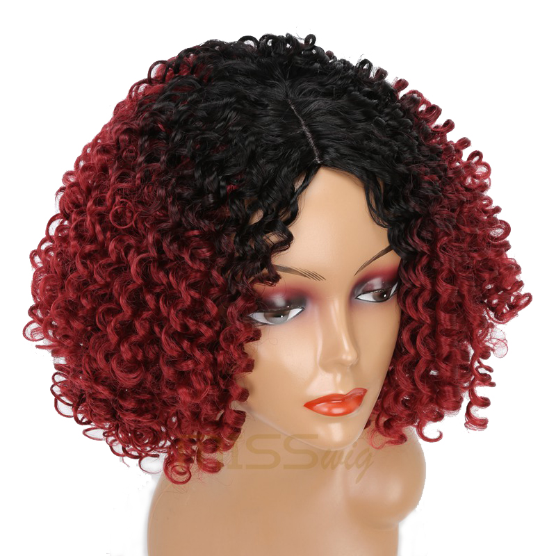 Image 5 - MISS WIG Long Black Ombre Red Wigs Kinky Curly Wigs for Black Women Synthetic Hair High Temperature Fiber Afro Women-in Synthetic None-Lace  Wigs from Hair Extensions & Wigs