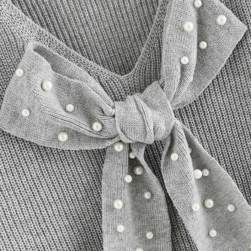HTB1YXgfXh2rK1RkSnhJq6ykdpXaQ - SHEIN Grey Preppy Elegant Plus Size Dropped Shoulder Bow Detail Solid Pullovers Sweater Autumn Casual Workwear Women Jumpers