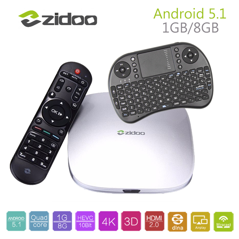 ZIDOO Android TV Box X5 Android 5.1 Lollipop Amlogic S905 Cortex A53 1G/8G WIFI 100M LAN Set Top Box H.265 4K Smart Media Player zidoo x6 pro 4k2k h265 smart android 51