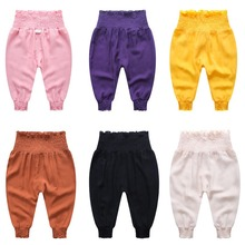 Chivry 2019 Baby Girls Elastic Waist Lantern Trousers Summer Thin Anti-mosquito Children Infant Girl Kids Casual Pants