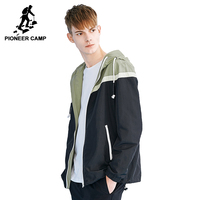 Pioneer Camp Fashion Hooded Jacket Coat Men Brand Clothing Thin Spring Coat Male Top Quality Patchwork