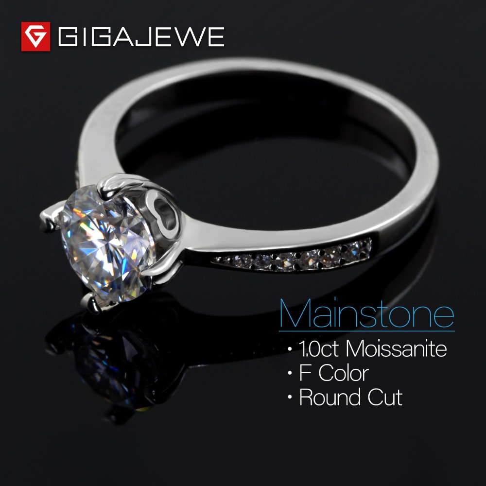 Image 3 - GIGAJEWE Moissanite Ring 1.0ct VVS1 Round Cut F Color Lab Diamond 925 Silver Jewelry Love Token Woman Girlfriend Courtship Gift-in Rings from Jewelry & Accessories