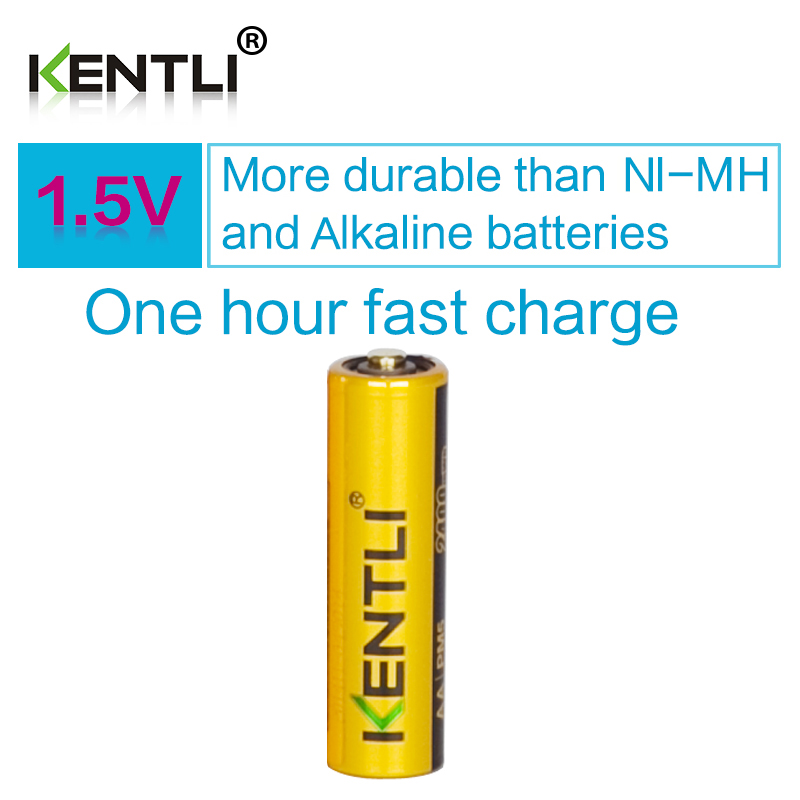 KENTLI 1 pcs good package AA 2400mWh 1.5V polymer lithium li-ion rechargeable batteries battery for kids toys