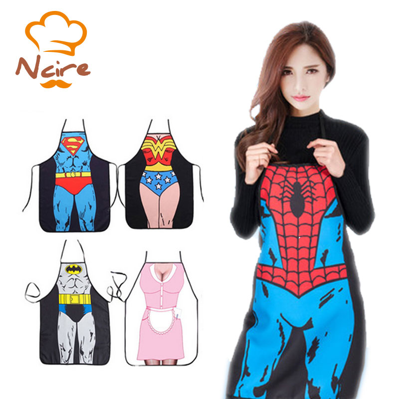 2017 New Selling sexy apron fun barbecue party naked male superhero cooking dinner apron Free Shipping