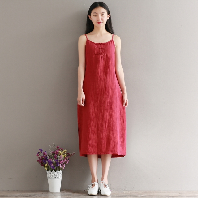 cfa6749640541 2017 Summer Vintage Women Long dress Spaghetti Strap Cotton And Linen  Button Soft Type Dresses White Red Black 340