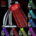 Romantic Automatically Changing 7 Color LED Colorful Shower Head Nozzle abs plastic round single head Bath Sprinkler Multi Color