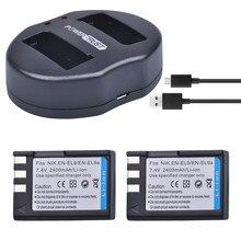 PowerTrust – 2 batteries 2400mAh EN EL9 EN EL9a + double chargeur USB pour Nikon en9 D40 D60 D40X D5000 D3000