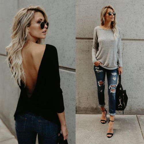 Fashion Women Long Sleeve Twisted Open Back Loose Tops Casual Shirt Blouse New Hot