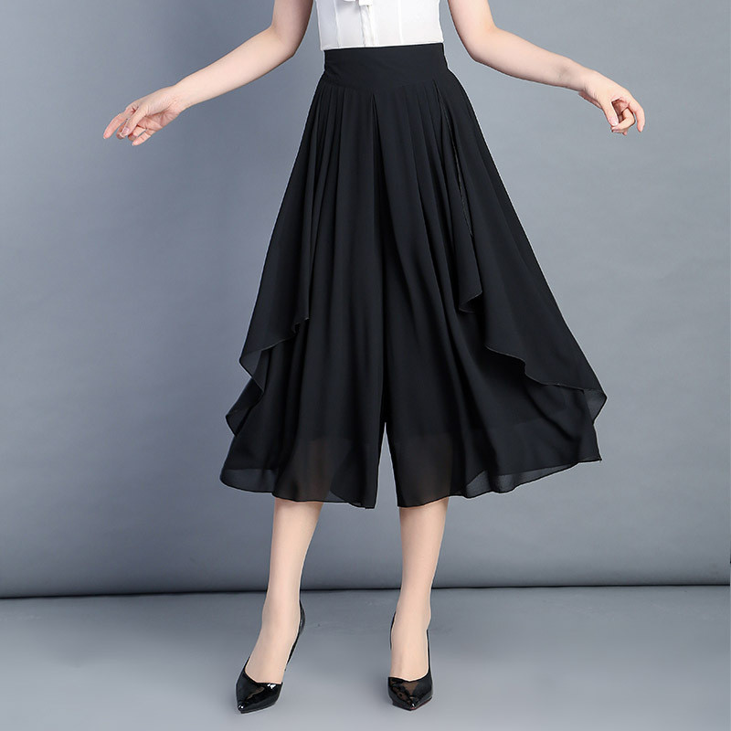 2019 New   Wide     Leg     Pants   Female Skirt Solid Summer High Waist Casual Loose Large Size Thin Chiffon   Pants   Skirt