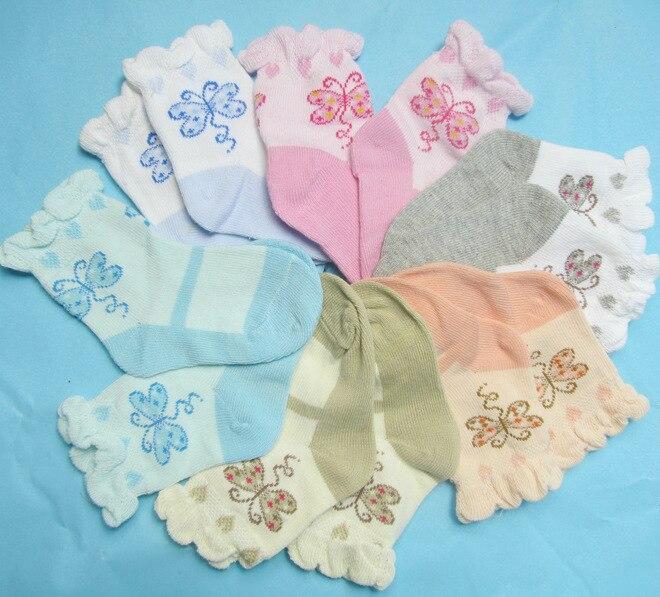 Spring Summer Baby Cotton Socks Thin Lace Children Socks Loose Newborn Infants Socks 2 Pairs/Lot Bottom Length 9cm