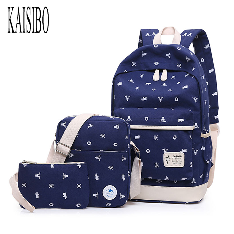 KAISIBO 3PCS Set Women Backpacks Canvas Print Student Bag Teen Girl Cute Backpack Schoolbag Ladies Large