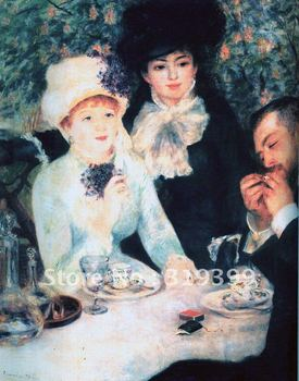 Linen Canvas Oil Painting reproduction, after the luncheon by pierre Auguste renoir,Free DHL Shipping,100% handmade