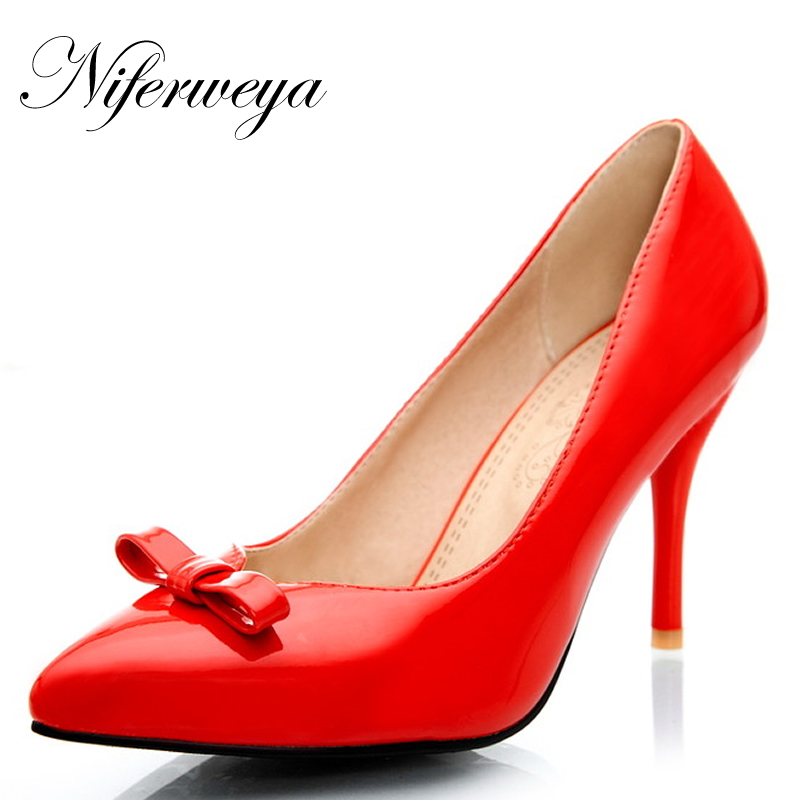 4 Farbe Frühling/Herbst frauen schuhe sexy Spitz bowknot pumps big size 31-47 Slip-On red hochzeit high heels zapatos mujer