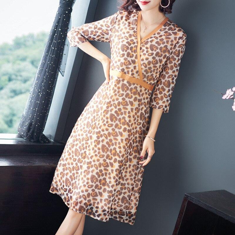 Office V Lignes Trimestre Trois D'été 2019 Travail À Print Mince Femmes Dress cou Lady Printemps Nouvelles Robe Party Manches rrqnwxOUF