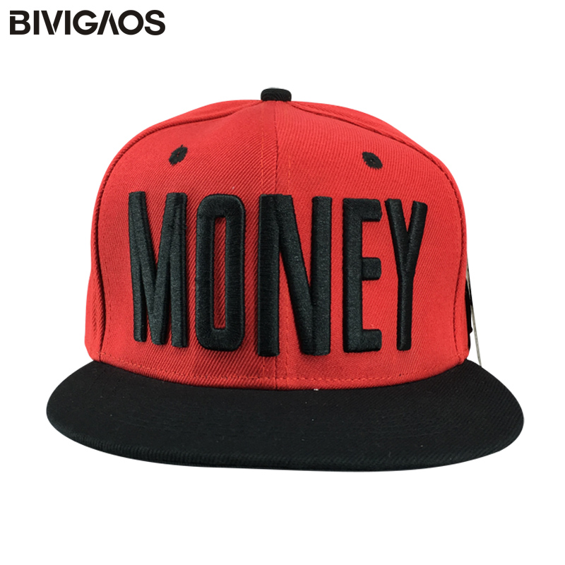 8da936c5072 Detail Feedback Questions about New Fashion Gorras Red Snapback Caps Unisex  MONEY Letters Embroidery Hip hop Hats Casual Baseball Caps Bone Toucas For  Men ...