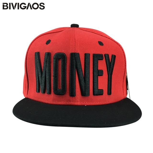 Nueva moda gorras rojo SnapBack gorras unisex money letras Bordado hip hop  sombreros casual Gorras de d75c44fe9ac