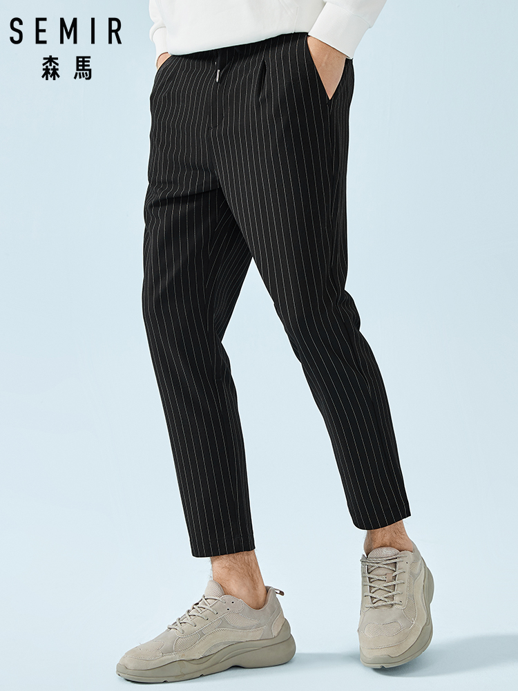 SEMIR Men Fashion Striped Ankle Length Pants Men's Slim Fit Suit Pants In Soft Cotton With Elastic Drawstring Waistband Spring