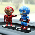 Funny Solar Powered Head Shaking Cute Iron Man Car Dolls Captain America Doraemon Cat Dolls Car Console Auto Inside Lovely Toy