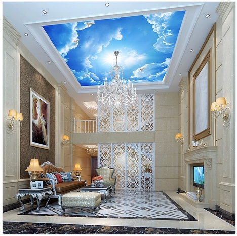 Free shipping large 3d mural wallpaper blue sky ceiling - Cost to paint interior walls and ceilings ...