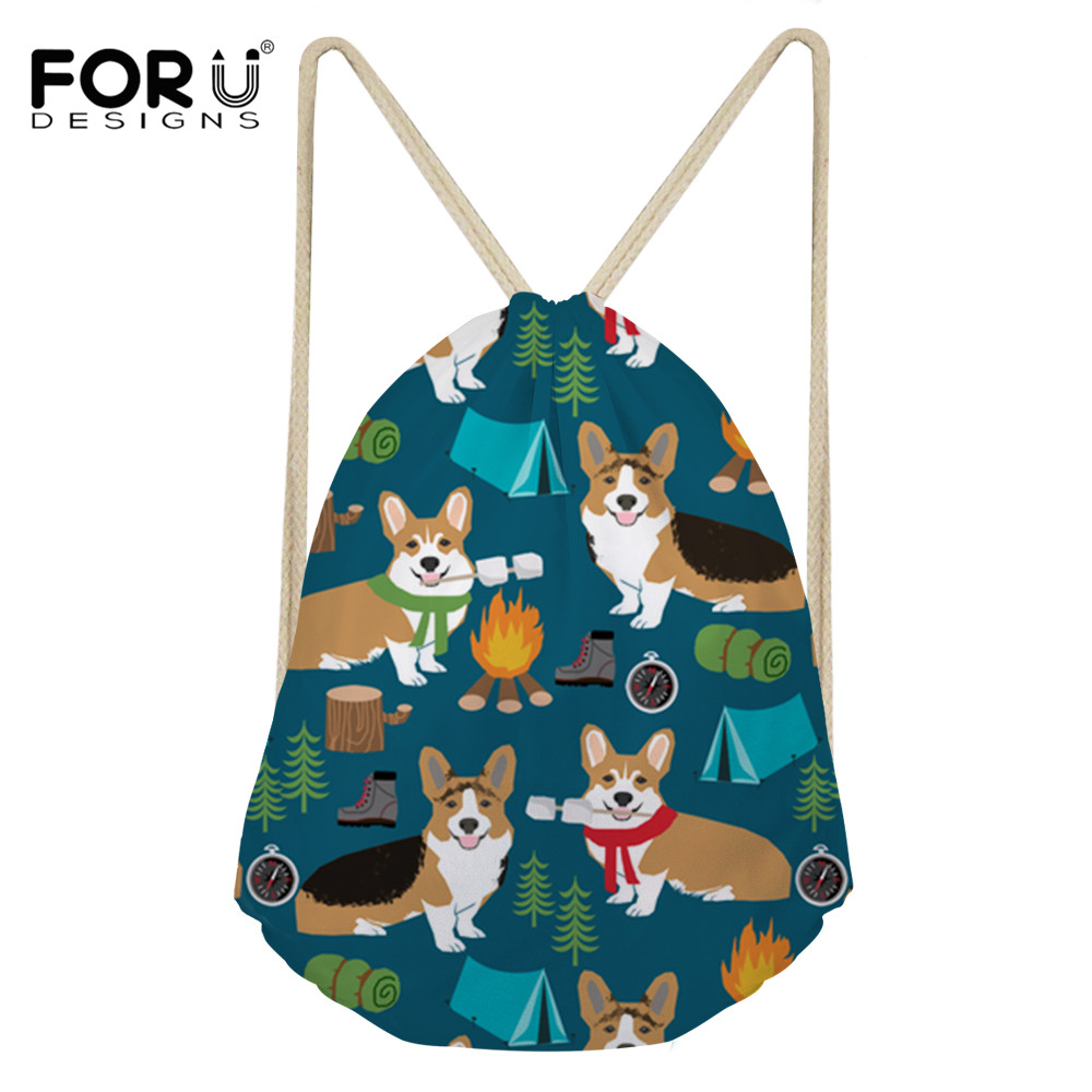 Drawstring Bags Luggage & Bags Intellective Forudesigns Corgis Printing Casual Drawstring Travel Rucksack Women String Shoulder Pack Foldable Gym Bag Beach Storage Bags Factory Direct Selling Price