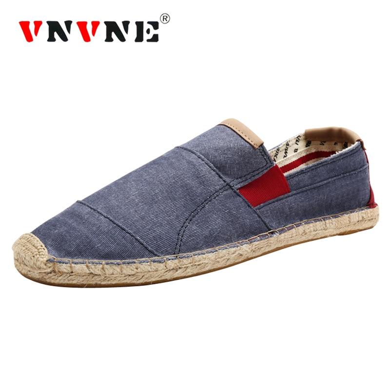 VNVNE Hombres Lienzo Zapatos Planos Alpargatas de Moda Tamaño 5.5,9.5 Verano Fresco Ligero Hombre