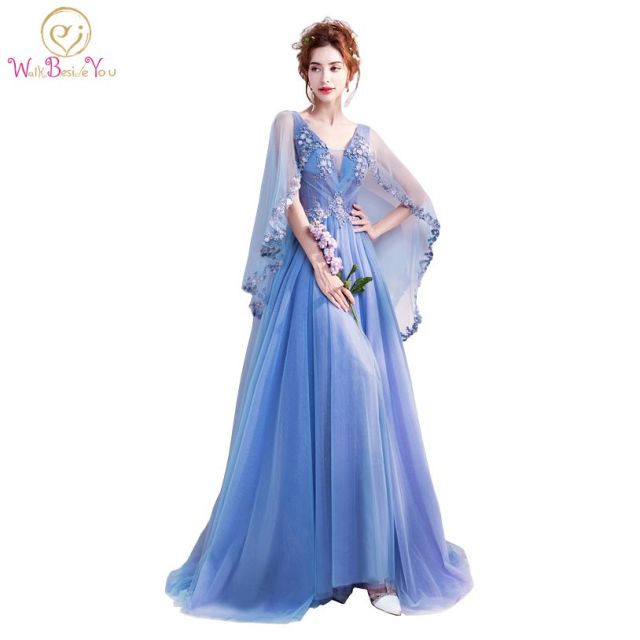 Walk Beside YOU Blue Prom Dresses with Wrap Flowing Lace Applique ...