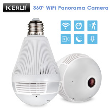 KERUI  Wireless Home Security Burglar Fisheye Panoramic Camera LED Light Lamp Bulb Surveillance 360 Degree WiFi 960P  IP Camera