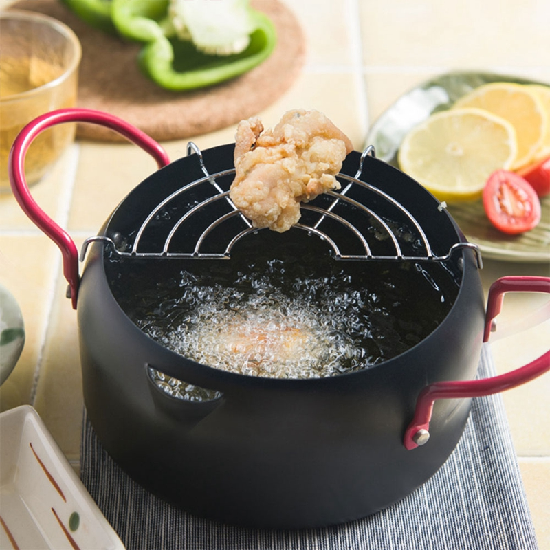Frying Pan Creative Fried Chicken Shrimp Pot Household Frying Pot General Use For Gas And Induction Cooker With Filter Rack