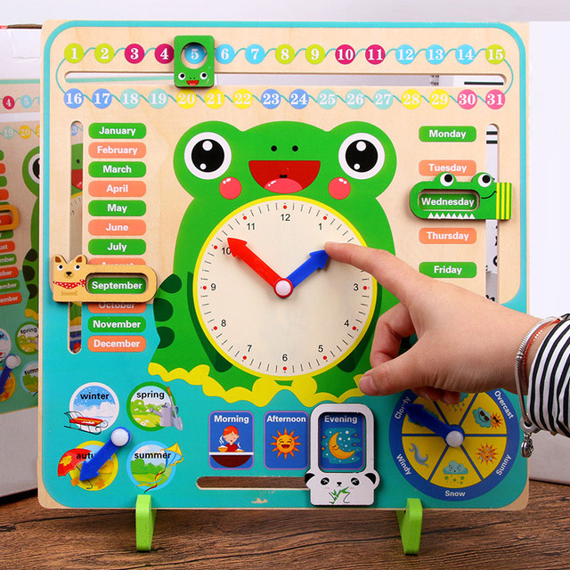 Wooden Montessori Toys Baby Weather Season Calendar Clock Time Cognition Preschool Education Teaching Aids Toys For Children