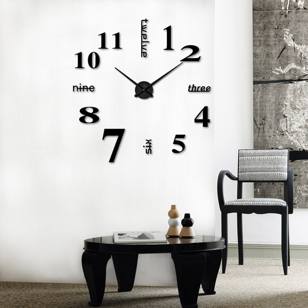 Acrylic Modern DIY Wall Clock 3D Mirror Surface Sticker Home Office Decor Dropshipping Sep18