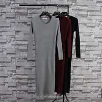Autumn Winter Hot Casual Fashion Brand Clothing Long Sleeve Robe Longue Femme Cashmere Knitted Long Sweater