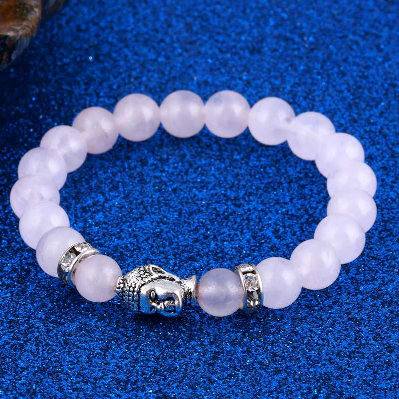 Kobiet mężczyzna bransoletki z kamienia naturalnego różowy kwarc koraliki bransoletka dla kobiet Reiki modlitwa joga budda bransoletki bransoletki hurtownie