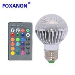 Бренд Foxanon E27 RGB затемнения светодио дный свет 85-265 В 110 V 220 V несколько Цвет лампы 9 Вт + 24key ИК-пульт дистанционного Управление освещения