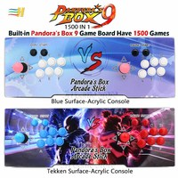 New Pandora Box 9 1500 in 1 Arcade Game Acrylic console 2 Players stick controller console HDMI VGA USB output PS3 TV PC 5s 6s 7