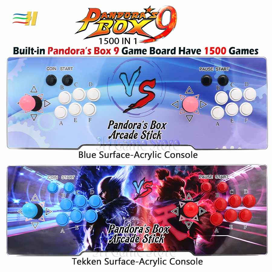 Nouveau pandora box 9 1500 dans 1 jeu d'arcade Acrylique console 2 Joueurs contrôleur de bâton console HDMI VGA sortie usb PS3 TV PC 5S 6 s 7