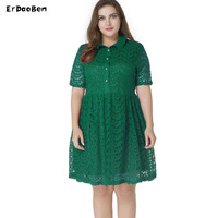 Vrouwen zwart groen kant hollow mid dress herfst elegant casual een lijn slanke sexy plus size m-7xl jurken ropa mujer vestidos mm061